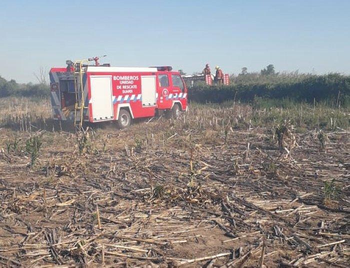 Bomberos de Suardi sofocaron incendio en zona rural